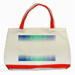 Blue Stripe With Water Droplets Classic Tote Bag (Red)