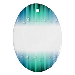 Blue Stripe With Water Droplets Oval Ornament (Two Sides)