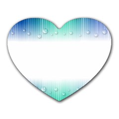 Blue Stripe With Water Droplets Heart Mousepads