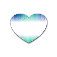 Blue Stripe With Water Droplets Rubber Coaster (heart)