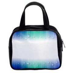 Blue Stripe With Water Droplets Classic Handbags (2 Sides)