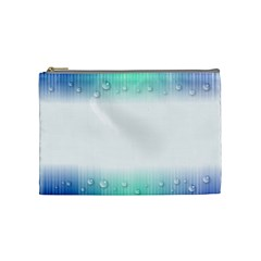 Blue Stripe With Water Droplets Cosmetic Bag (medium)