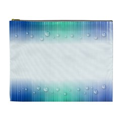 Blue Stripe With Water Droplets Cosmetic Bag (XL)
