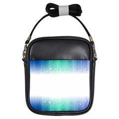 Blue Stripe With Water Droplets Girls Sling Bags