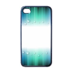 Blue Stripe With Water Droplets Apple Iphone 4 Case (black)