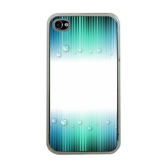 Blue Stripe With Water Droplets Apple Iphone 4 Case (clear)
