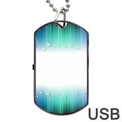 Blue Stripe With Water Droplets Dog Tag USB Flash (Two Sides)
