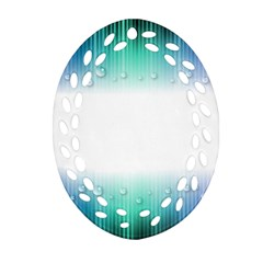 Blue Stripe With Water Droplets Oval Filigree Ornament (Two Sides)