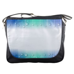Blue Stripe With Water Droplets Messenger Bags