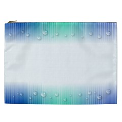 Blue Stripe With Water Droplets Cosmetic Bag (XXL)