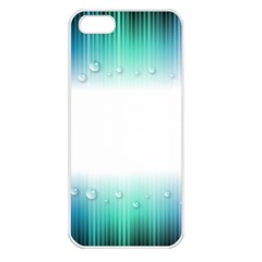 Blue Stripe With Water Droplets Apple Iphone 5 Seamless Case (white)