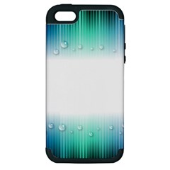 Blue Stripe With Water Droplets Apple iPhone 5 Hardshell Case (PC+Silicone)
