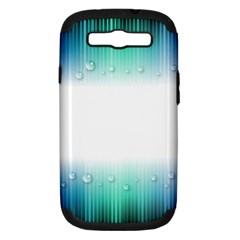 Blue Stripe With Water Droplets Samsung Galaxy S III Hardshell Case (PC+Silicone)