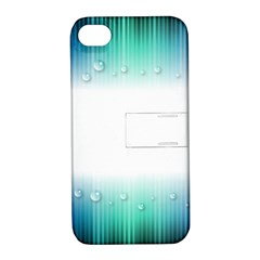 Blue Stripe With Water Droplets Apple Iphone 4/4s Hardshell Case With Stand