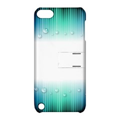 Blue Stripe With Water Droplets Apple Ipod Touch 5 Hardshell Case With Stand