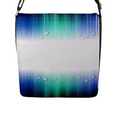 Blue Stripe With Water Droplets Flap Messenger Bag (L)