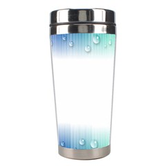 Blue Stripe With Water Droplets Stainless Steel Travel Tumblers