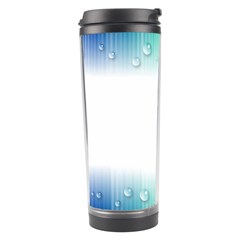 Blue Stripe With Water Droplets Travel Tumbler