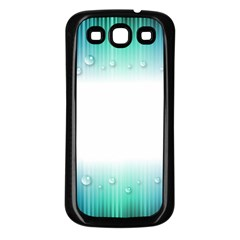 Blue Stripe With Water Droplets Samsung Galaxy S3 Back Case (Black)