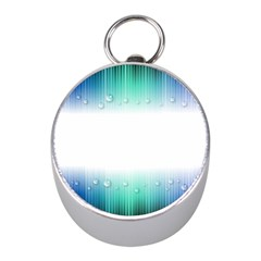 Blue Stripe With Water Droplets Mini Silver Compasses