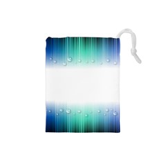 Blue Stripe With Water Droplets Drawstring Pouches (Small)
