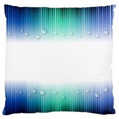 Blue Stripe With Water Droplets Large Flano Cushion Case (One Side)