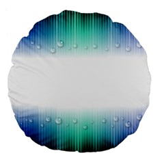 Blue Stripe With Water Droplets Large 18  Premium Flano Round Cushions
