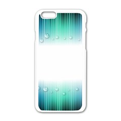 Blue Stripe With Water Droplets Apple iPhone 6/6S White Enamel Case