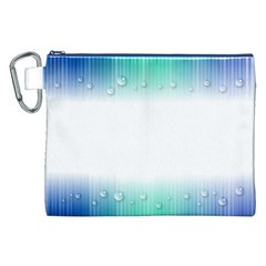 Blue Stripe With Water Droplets Canvas Cosmetic Bag (xxl)