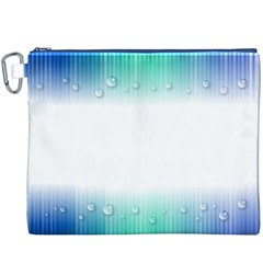 Blue Stripe With Water Droplets Canvas Cosmetic Bag (XXXL)