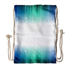 Blue Stripe With Water Droplets Drawstring Bag (large)