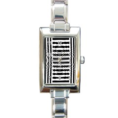 Black And White Abstract Stripped Geometric Background Rectangle Italian Charm Watch