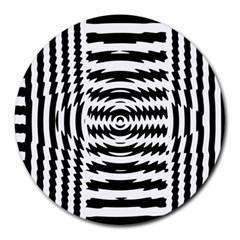 Black And White Abstract Stripped Geometric Background Round Mousepads