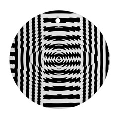 Black And White Abstract Stripped Geometric Background Ornament (Round)