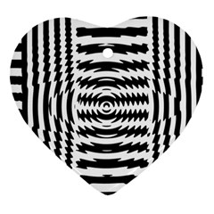 Black And White Abstract Stripped Geometric Background Ornament (heart)