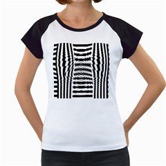 Black And White Abstract Stripped Geometric Background Women s Cap Sleeve T