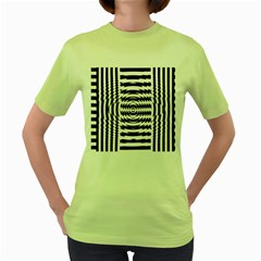 Black And White Abstract Stripped Geometric Background Women s Green T-Shirt