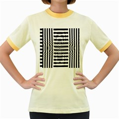 Black And White Abstract Stripped Geometric Background Women s Fitted Ringer T-Shirts