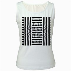 Black And White Abstract Stripped Geometric Background Women s White Tank Top