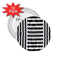 Black And White Abstract Stripped Geometric Background 2 25  Buttons (10 Pack)