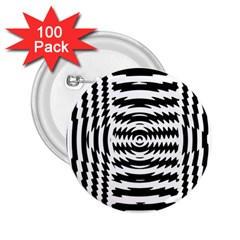 Black And White Abstract Stripped Geometric Background 2 25  Buttons (100 Pack)
