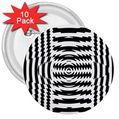 Black And White Abstract Stripped Geometric Background 3  Buttons (10 pack)