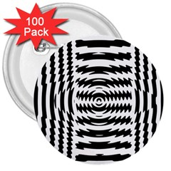 Black And White Abstract Stripped Geometric Background 3  Buttons (100 pack)