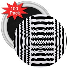 Black And White Abstract Stripped Geometric Background 3  Magnets (100 pack)