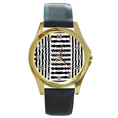 Black And White Abstract Stripped Geometric Background Round Gold Metal Watch