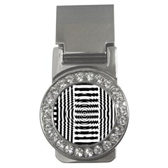 Black And White Abstract Stripped Geometric Background Money Clips (cz)