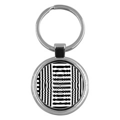 Black And White Abstract Stripped Geometric Background Key Chains (Round)