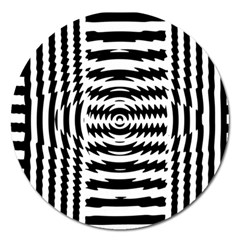 Black And White Abstract Stripped Geometric Background Magnet 5  (Round)