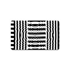 Black And White Abstract Stripped Geometric Background Magnet (Name Card)