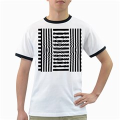 Black And White Abstract Stripped Geometric Background Ringer T-Shirts